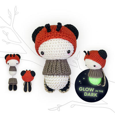 lalylala FIREFLY crochet pattern glowworm spanish • Glow in the Dark • fluorescent • amigurumi beetle toy