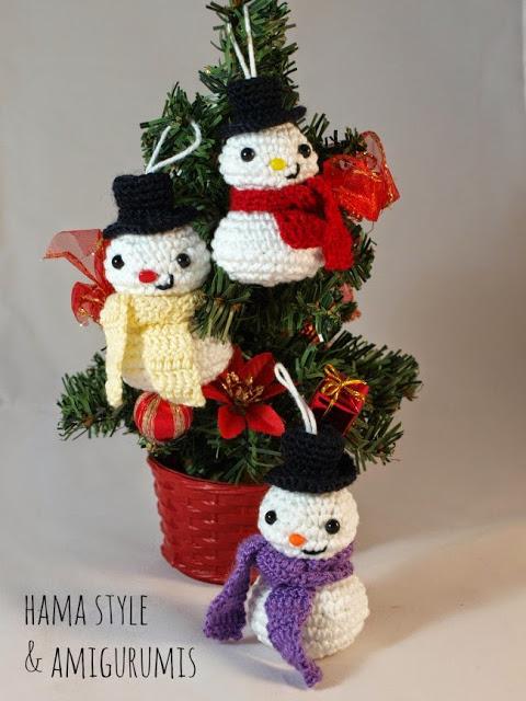 Patrón navideño muñequito de nieve