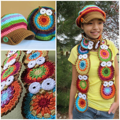 2 Crochet Patterns - Owl Scarf & Hat